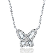 Load image into Gallery viewer, Petite Baguette Diamond Butterfly Pendant