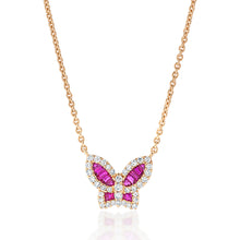 Load image into Gallery viewer, Petite Ruby and Diamond Butterfly Pendant