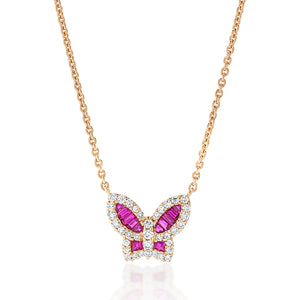Petite Ruby and Diamond Butterfly Pendant