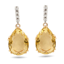Load image into Gallery viewer, Lemon Quartz and Diamond earrings