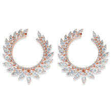 Load image into Gallery viewer, Rose Gold Diamond Marquis Curved Earrings