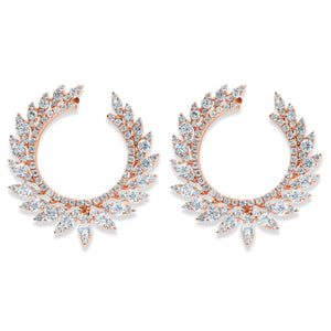 Rose Gold Diamond Marquis Curved Earrings