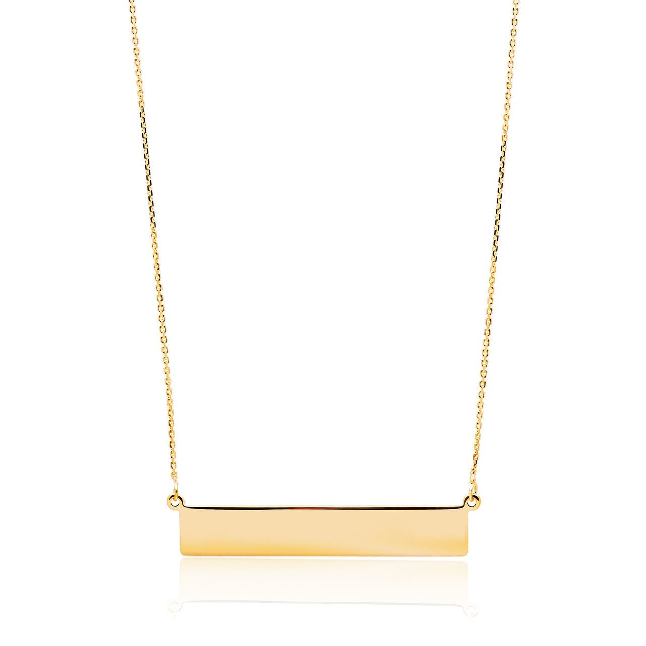 14k Gold Bar Pendant-Option to Engrave