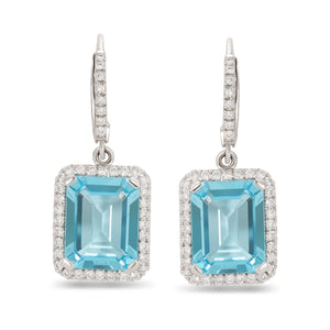 Emerald Cut Blue Topaz and Diamond Halo Hanging Earrings