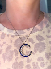 Load image into Gallery viewer, Sapphire, Diamond and Pearl Moon Necklace