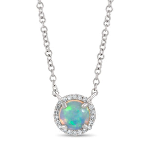 Opal and Diamond Halo Necklace