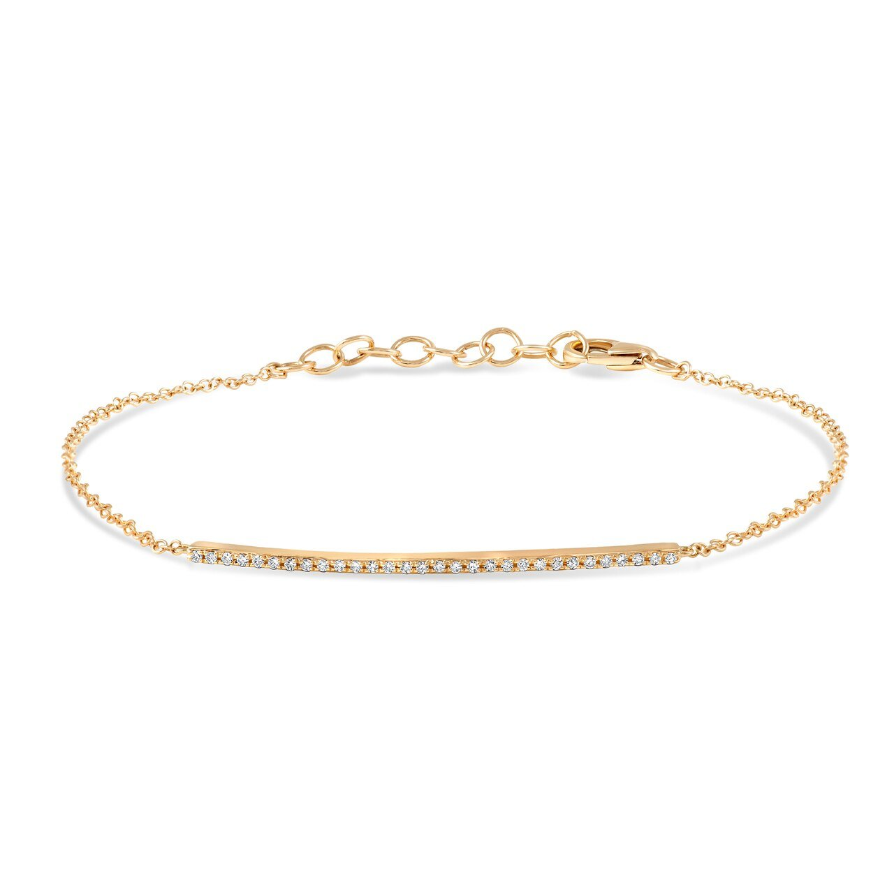 Yellow Gold Diamond Pave Bar Bracelet