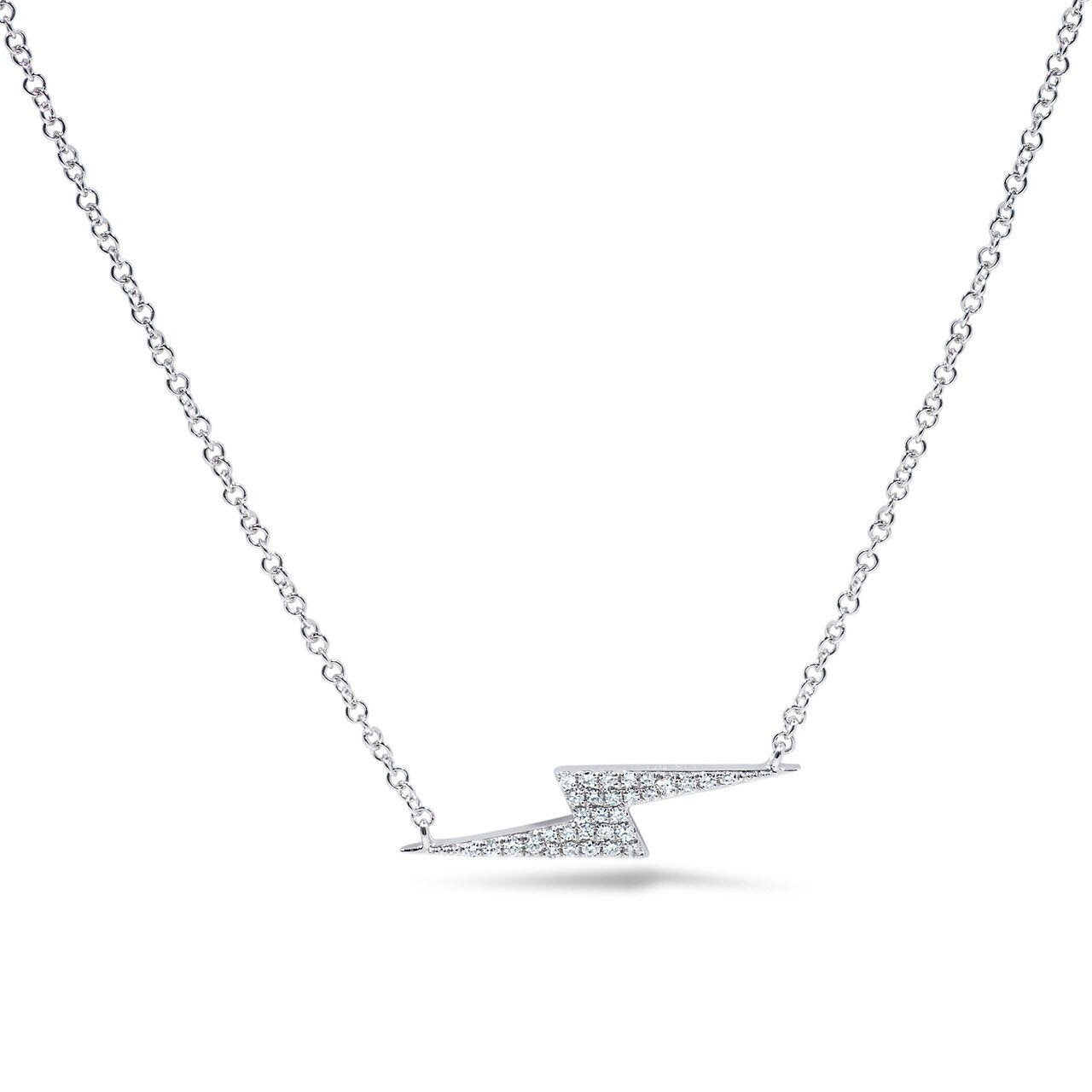 White Gold and Diamond Lightening Bolt Pendant