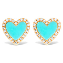 Load image into Gallery viewer, Diamond and Turquoise Heart Stud Earrings