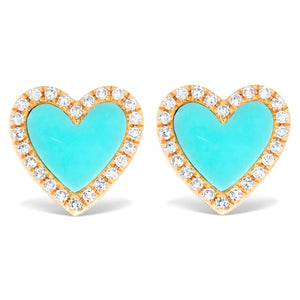 Diamond and Turquoise Heart Stud Earrings