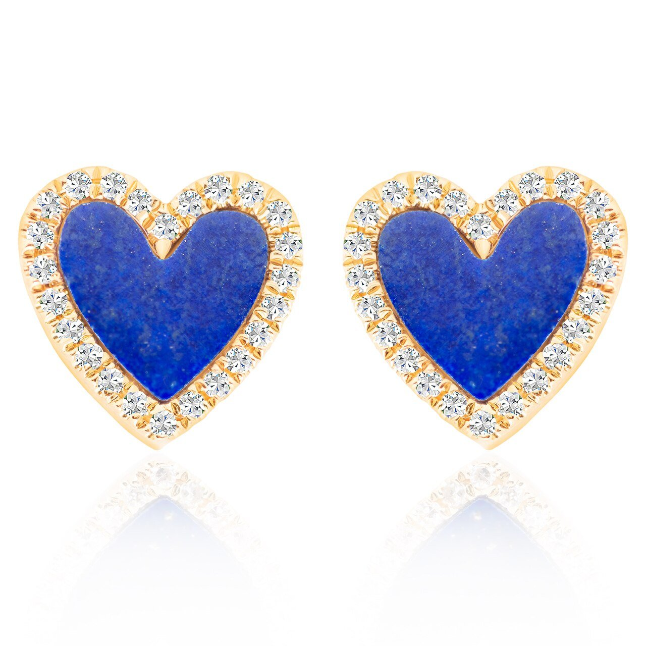 Lapis and Diamond Heart Stud Earrings