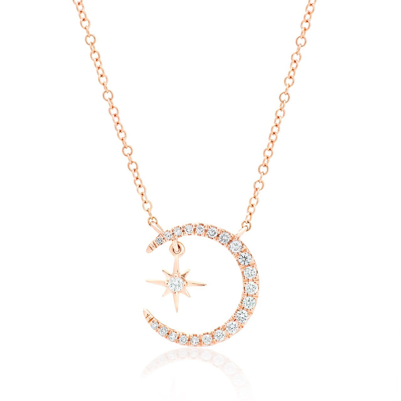 Diamond Moon and Star Pendant