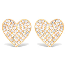 Load image into Gallery viewer, Medium Size Pave Diamond Heart Stud Earrings
