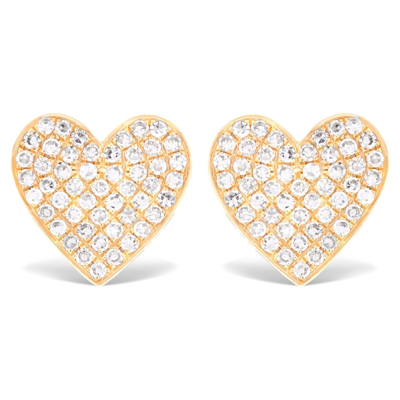 Medium Size Pave Diamond Heart Stud Earrings