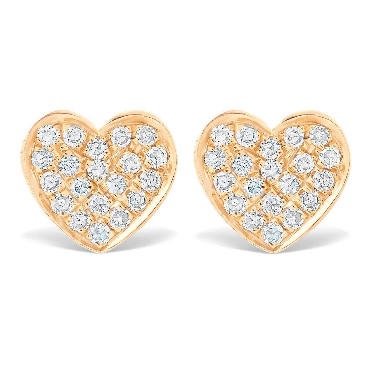 Mini Pave Diamond Heart Earrings