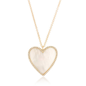Mother of Pearl Diamond Heart Pendant