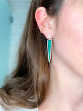 Load image into Gallery viewer, Malachite and Diamond Dagger Earrings