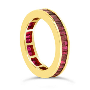 Yellow Gold Baguette Ruby Band