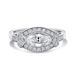 Platinum Vintage Marquis Diamond Engagement Ring