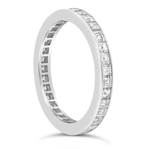 Asscher Diamond Channel Set Band