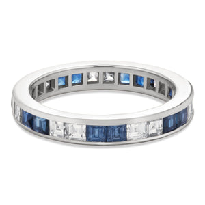 Sapphire and Diamond Channel Set Eternity Band