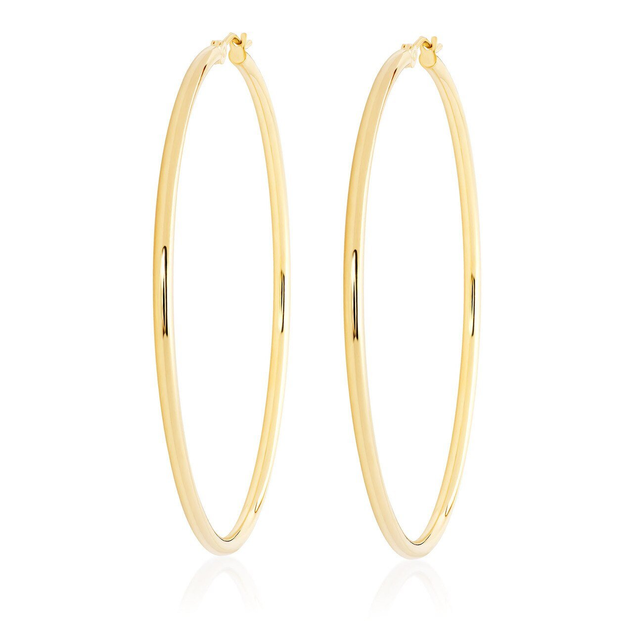 14k Gold Skinny Large Hoops-2