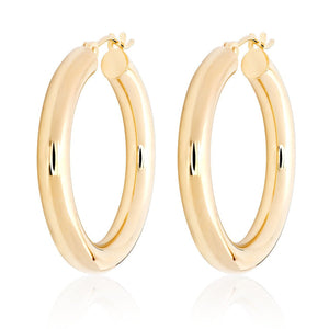 "14k Gold Hoops-1"" Diameter"