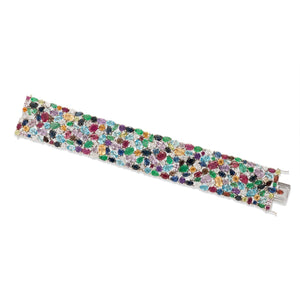 Semiprecious Stone and Diamond Flexible Bracelet