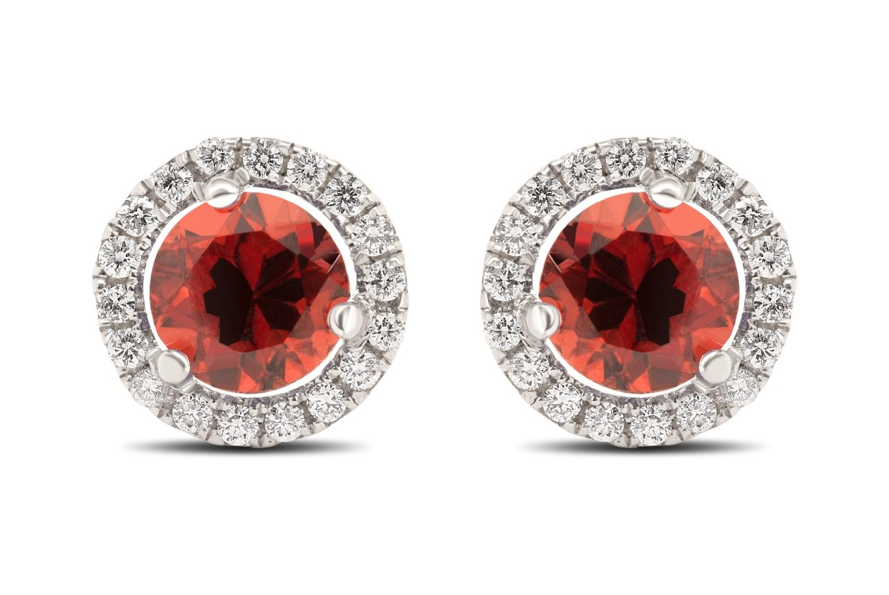 Garnet and Diamond Halo Studs