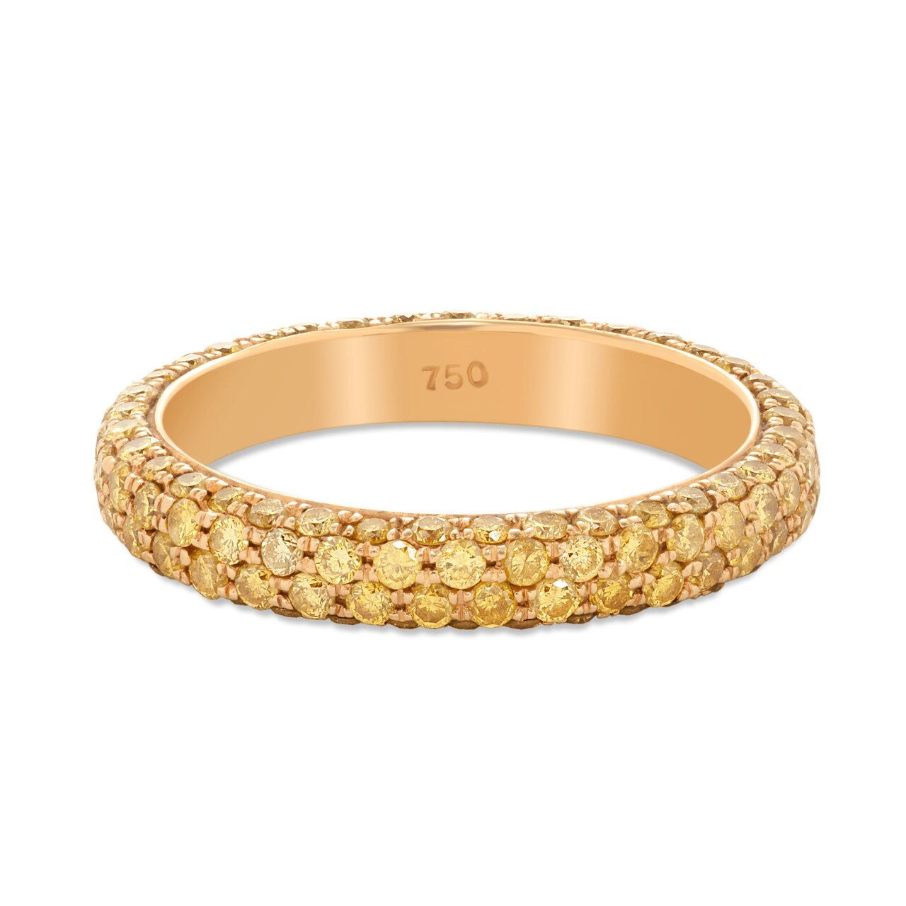 Multi Row Yellow Pave Diamond Band