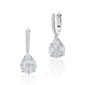 White Gold Illusion Diamond Dangle Earrings