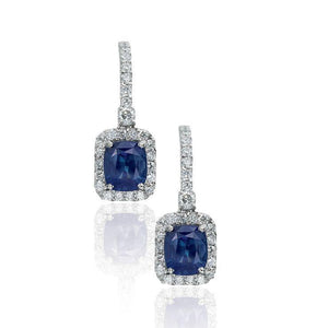 White Gold Sapphire and Diamond Dangle Earrings