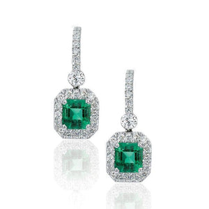 White Gold Square Green Emerald and Diamond Earrings