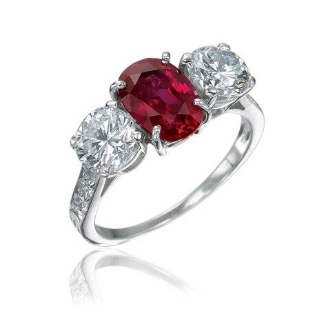 Three Stone Diamond and Ruby Engagement Ring