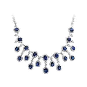 White Gold Oval Sapphire and Round Diamond Necklace