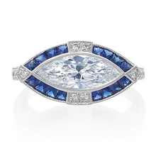 Load image into Gallery viewer, Marquise Diamond and Sapphire Ring