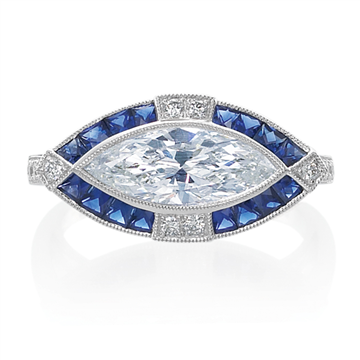 Marquise Diamond and Sapphire Ring