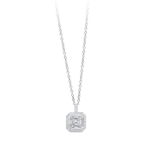 White Gold Baguette and Round Diamond Pendant