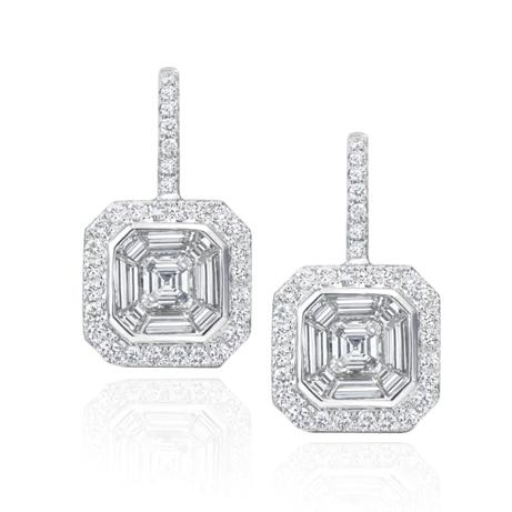 White Gold Round and Baguette diamond Hanging Earrings