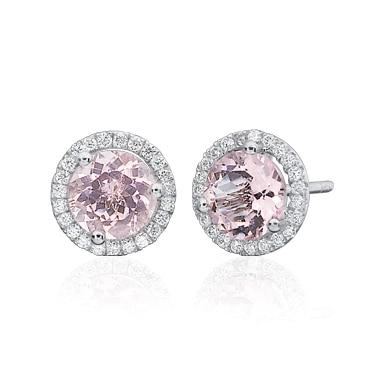 Pink Morganite Diamond Halo Studs