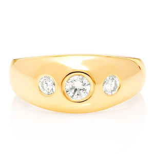 18k Gold Gypsy Three Stone Diamond Ring