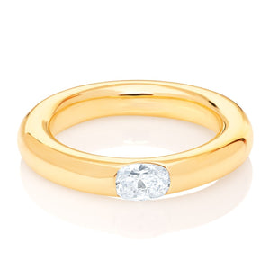 18k Gold Oval Diamond Band