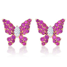 Load image into Gallery viewer, Pink Sapphire and Diamond Butterfly Earrings