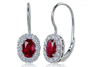 Ruby and Diamond Lever Back Earrings