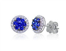 Load image into Gallery viewer, Diamond Halo with Sapphire Cluster Earrings.