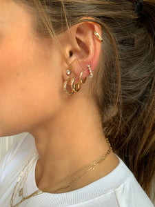 Small Yellow Gold Huggie Hoop Earring