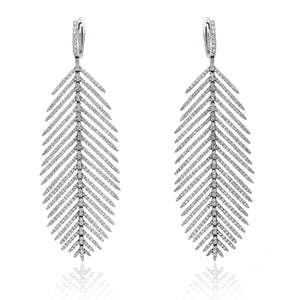 Black Gold Diamond Feather Earrings