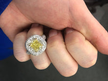Load image into Gallery viewer, Fancy Intense Yellow Cushion Cut Diamond Ring