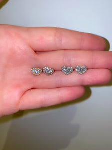 Petite Round and Baguette Diamond Heart Studs