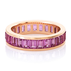 Pink Sapphire Channel Set Eternity Band.